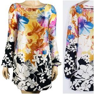 Cache Orange Black Floral Silk Tunic Dress Top XS